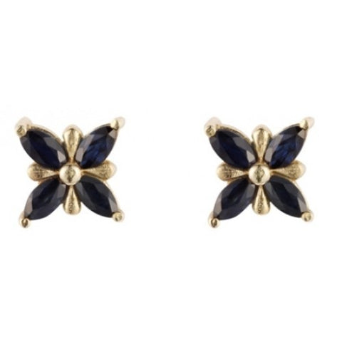 Sapphire cluster earrings in 9ct gold