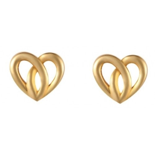 Open heart stud earrings in 9ct gold