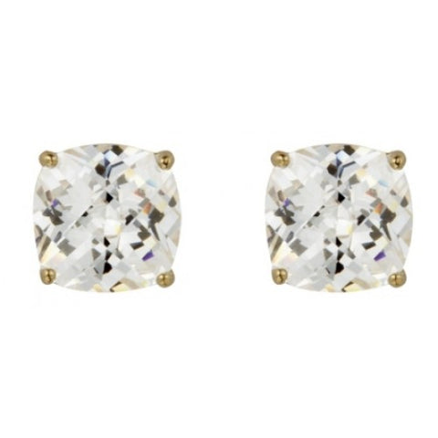 Cushion shape cubic zirconia stud earrings in 9ct gold
