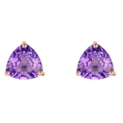Triangular amethyst stud earrings in 9ct gold