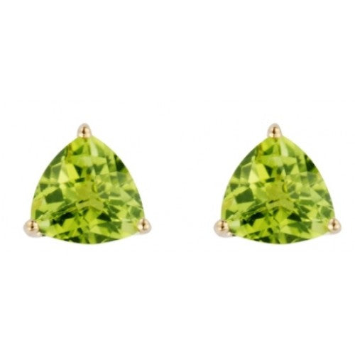 Peridot triangular stud earrings in 9ct gold
