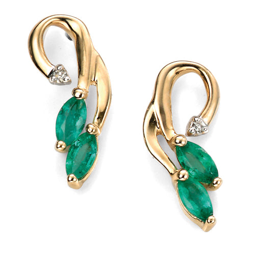 Emerald and diamond vine earrings in 9ct gold