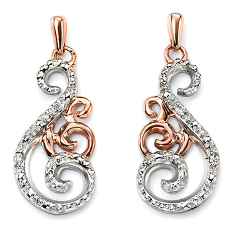 Earrings - Swirl earrings in 9ct white and rose gold, diamond set  - PA Jewellery
