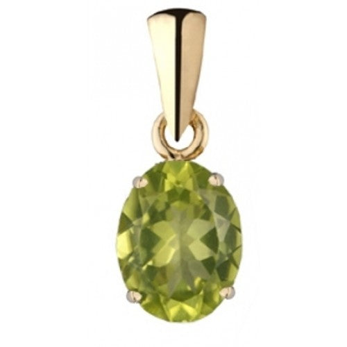 Oval peridot pendant in 9ct gold