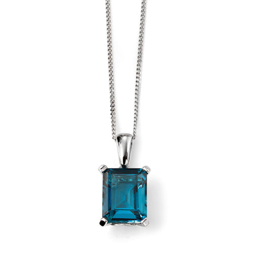 London Blue Topaz octagon cut solitaire pendant and chain in 9ct white gold