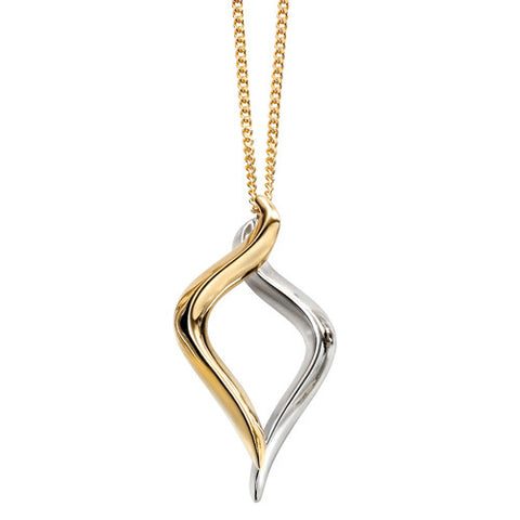 Open twist pendant in 9ct two colour gold