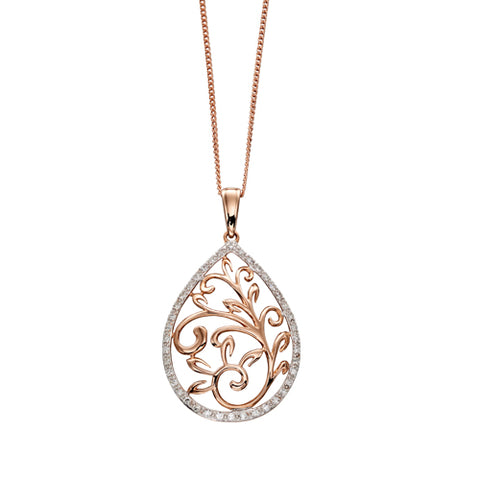 Diamond leaf design pendant and chain in 9ct rose gold