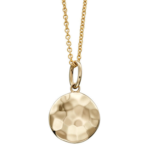 Hammered finish disc pendant and chain in 9ct gold