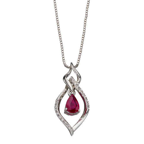 Ruby and diamond pendant and chain in 9ct white gold