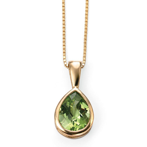 Peridot solitaire pendant and chain in 9ct gold