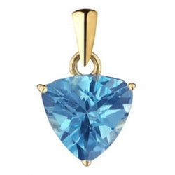 Blue Topaz triangular pendant in 9ct gold