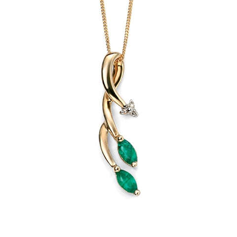 Emerald and diamond pendant and chain in 9ct gold