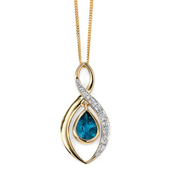 London Blue Topaz and diamond pendant and chain in 9ct gold
