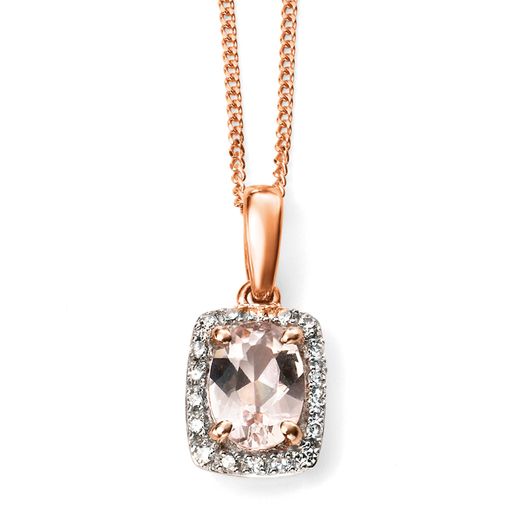 Morganite and diamond halo cluster pendant and chain in 9ct rose gold