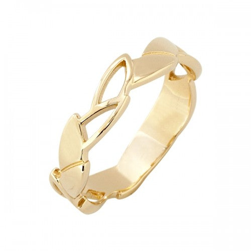 Geometric leaf design band ring in 9ct yellow gold