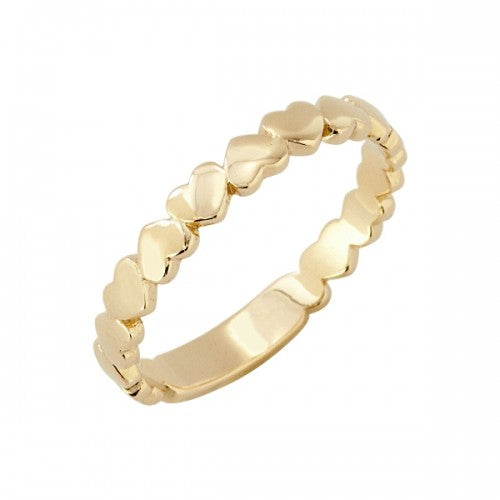 Heart detail band ring in 9ct gold