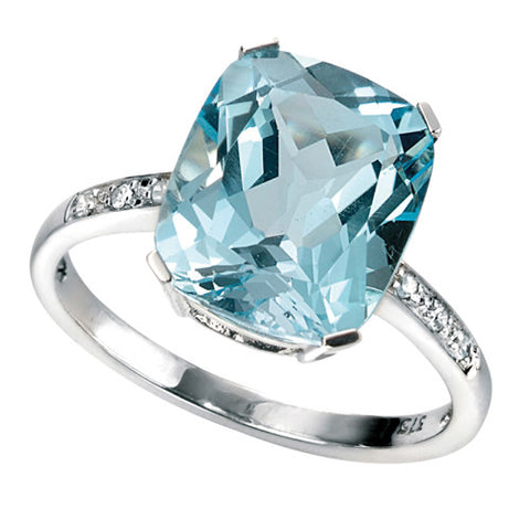 Blue topaz and diamond ring in 9ct white gold