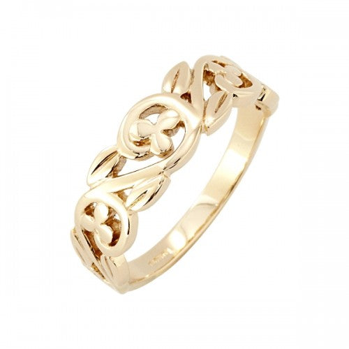 Floral swirl band ring in 9ct gold
