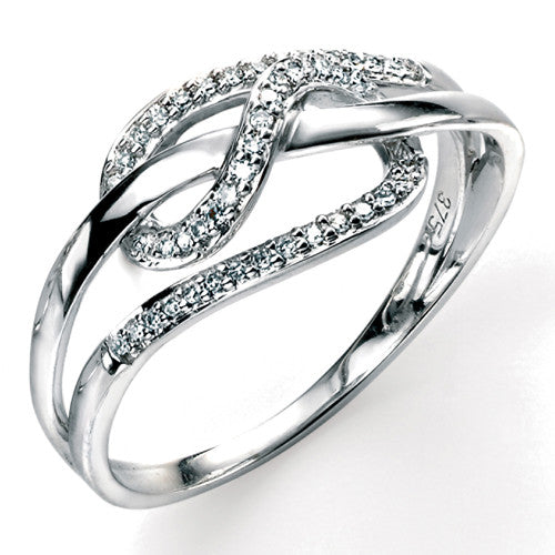 Looping design diamond ring in 9ct white gold