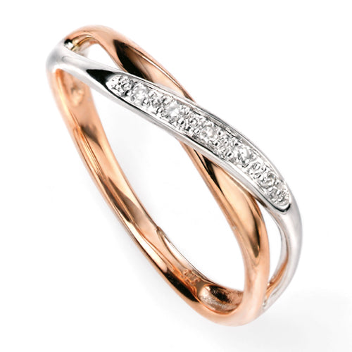 Diamond set crossover band ring in 9ct rose and white gold