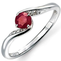 Ring - Ruby and diamond twist ring in 9ct white gold  - PA Jewellery