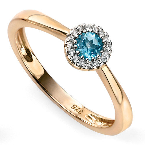Blue topaz and diamond cluster ring in 9ct yellow gold