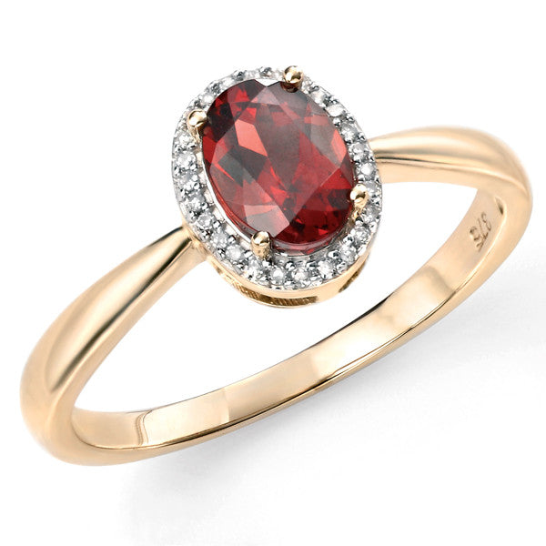 Ring - Garnet and diamond cluster ring in 9ct yellow gold  - PA Jewellery