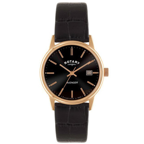 Watch - Men's Rotary Avenger in rose PVD plated stainless steel on leather GS02877/04  - PA Jewellery