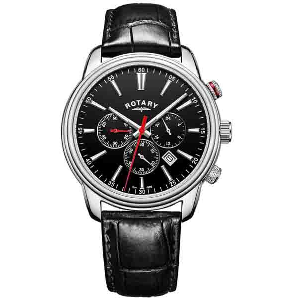 Men's Rotary Monaco in stainless steel on leather GS05083/04