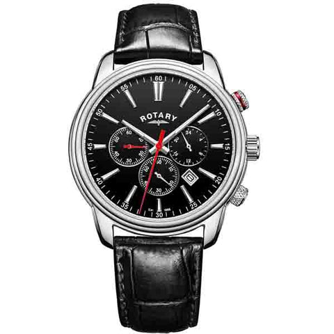 Rotary Monaco in stainless steel on leather GS05083/04