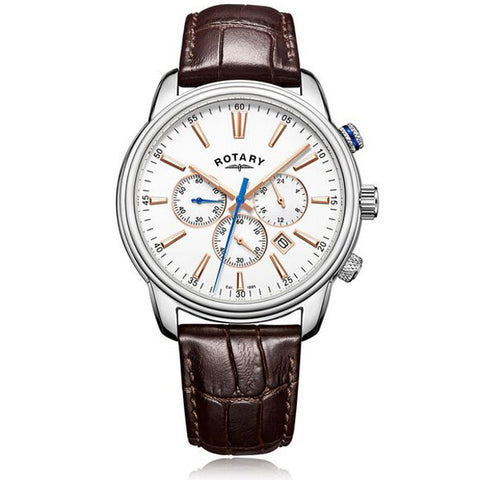 Men's Rotary Monaco in stainless steel on leather GS05083/06