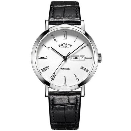 Watch - Men's Rotary Windsor in stainless steel on leather GS05300/01  - PA Jewellery