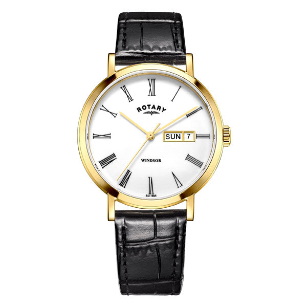 Men's Rotary Windsor in yellow PVD plated stainless steel on leather GS05303/01