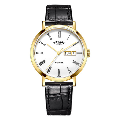 Rotary Windsor in yellow PVD plated stainless steel on leather GS05303/01