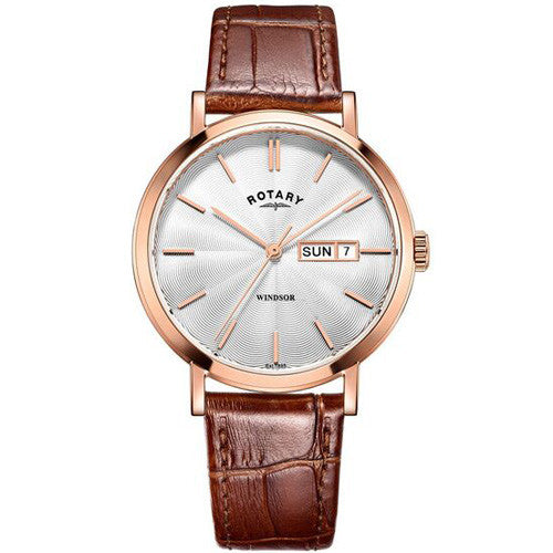 Watch - Men's Rotary Windsor in rose PVD plated stainless steel on leather GS05304/02  - PA Jewellery