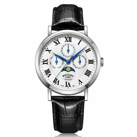 Rotary Windsor Multifunction in stainless steel on leather GS05325/01