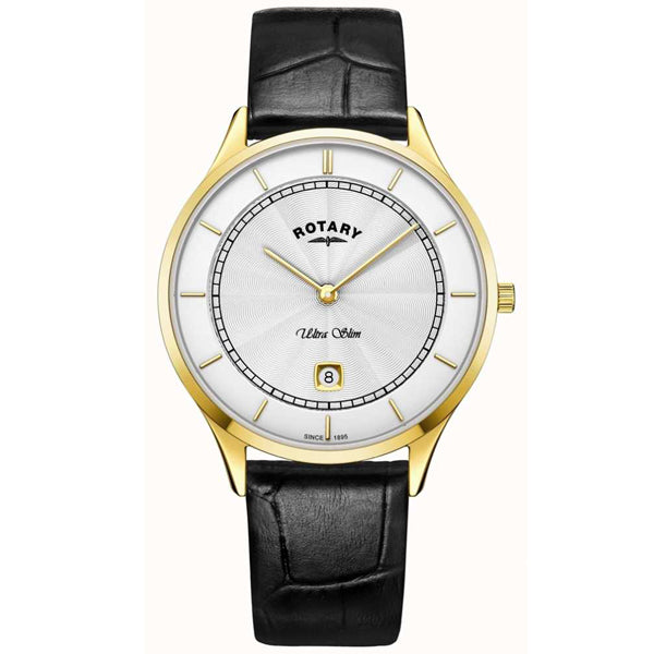 Rotary Ultra Slim in yellow PVD plated stainless steel on leather GS08303/02