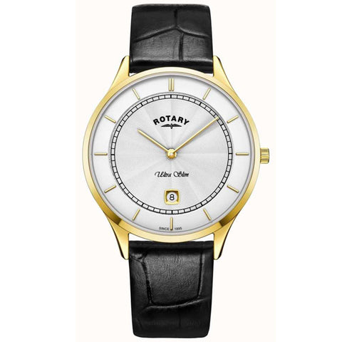 Men's Rotary Ultra Slim in yellow PVD plated stainless steel on leather GS08303/02
