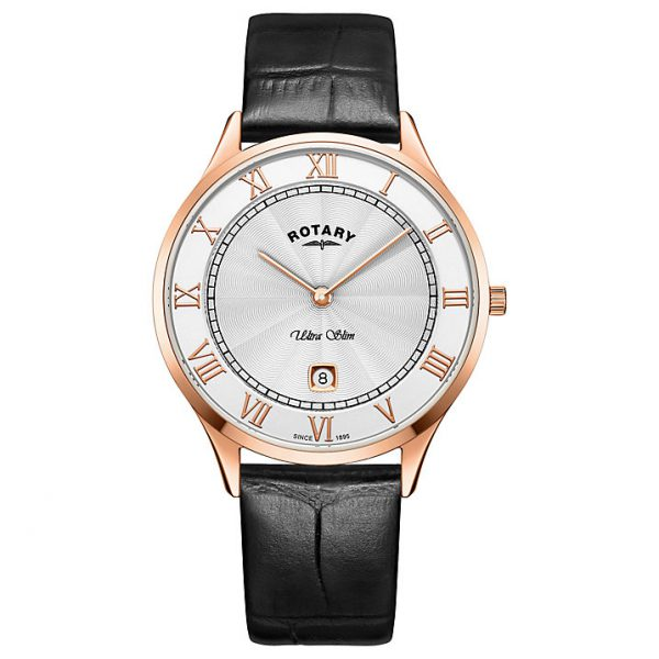 Men's Rotary Ultra Slim in rose PVD plated stainless steel on leather GS08304/01