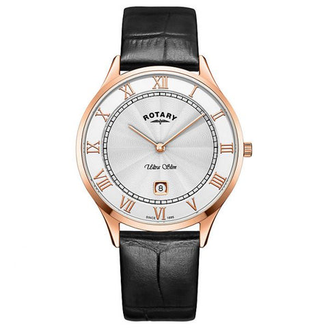 Rotary Ultra Slim in rose PVD plated stainless steel on leather GS08304/01