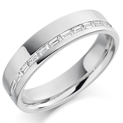 Ring - Baguette cut diamond offset channel half eternity ring, 0.30ct  - PA Jewellery