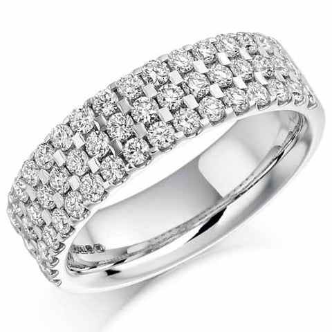 Ring - Round brilliant cut diamond three row half eternity ring, 1.05ct  - PA Jewellery