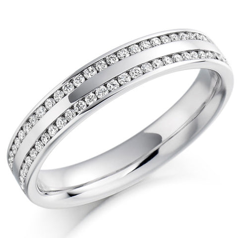 Ring - Round brilliant cut diamond double row half eternity ring, 0.26ct  - PA Jewellery