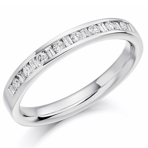 Ring - Round brilliant and baguette cut diamond channel set half eternity ring, 0.25ct  - PA Jewellery