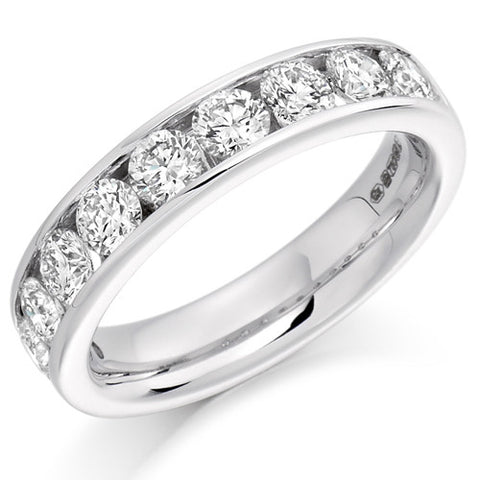Ring - Round brilliant cut diamond channel set half eternity ring, 1.50ct  - PA Jewellery