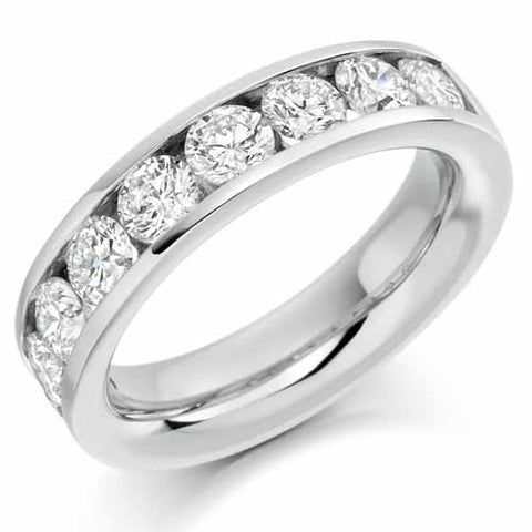 Ring - Round brilliant cut diamond channel set half eternity ring, 2.00ct  - PA Jewellery