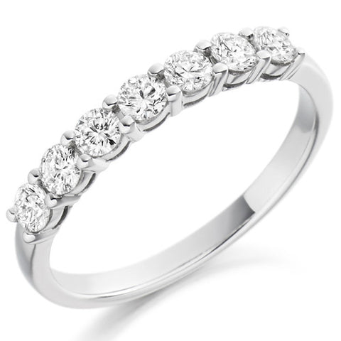 Ring - Round brilliant cut diamond claw set half eternity ring, 0.50ct  - PA Jewellery