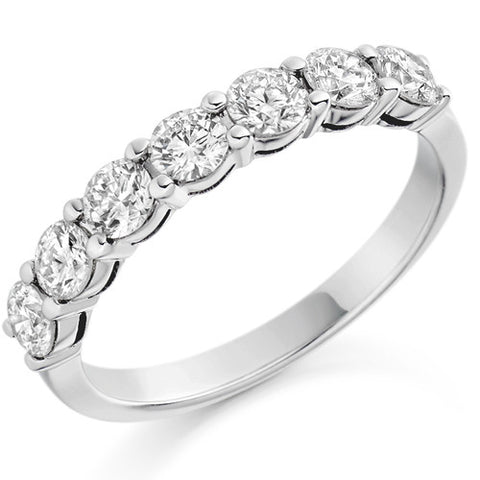 Ring - Round brilliant cut diamond claw set half eternity ring, 1.00ct  - PA Jewellery