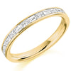 Ring - Princess and baguette cut diamond half eternity ring, 0.60ct  - PA Jewellery