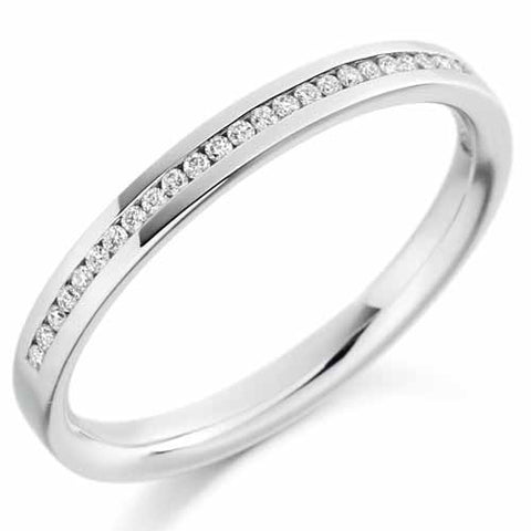 Ring - Round brilliant cut diamond channel set half eternity ring, 0.12ct  - PA Jewellery